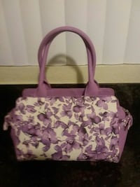Purple and white handbag