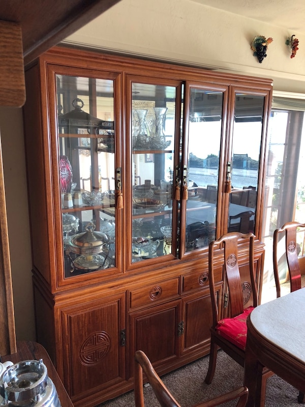 Chinese Rosewood Dining Room Set Table Large China Cabinet And Smaller It Must Go House Is Being Demolished