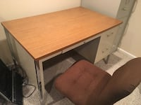 Metal Desk with Wood Top and Chair Vernon Hills