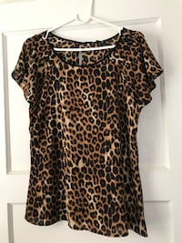 women's brown and black leopard print blouse BELLEVUE