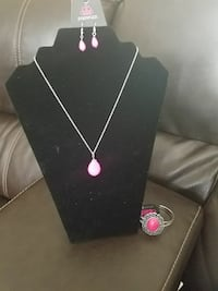 pink glowing pendant silver-colored necklace and earrings set Rocky Mount, 27801