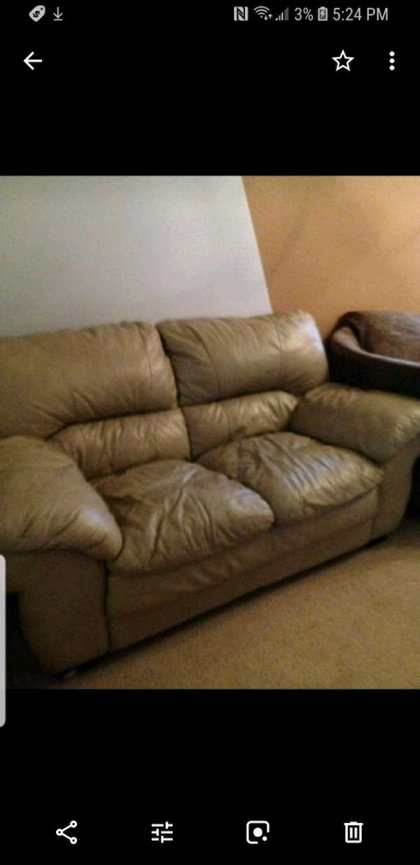 Used brown leather 3-seat recliner sofa for sale in Tracy - letgo