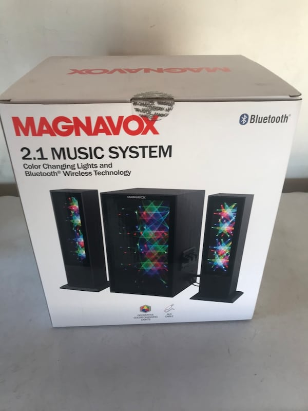 Magnavox 2.1 music system color changing lights and Bluetooth e2be3d2b-1997-4a45-a9ec-b93841a55e59