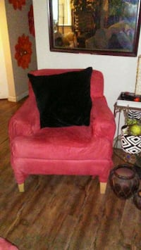 red chairs and ottoman