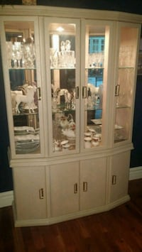 white wooden framed glass display cabinet Calgary, T3E 4T8