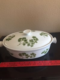 Covered casserole dish Parsley decoration