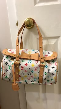 White and brown leather tote bag