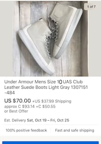 Under armour suade boots ( US size 10) New Westminster, V3L 3N6