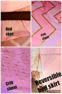 Girls crib bumpers, sheets, bed skirt Attleboro, 02703