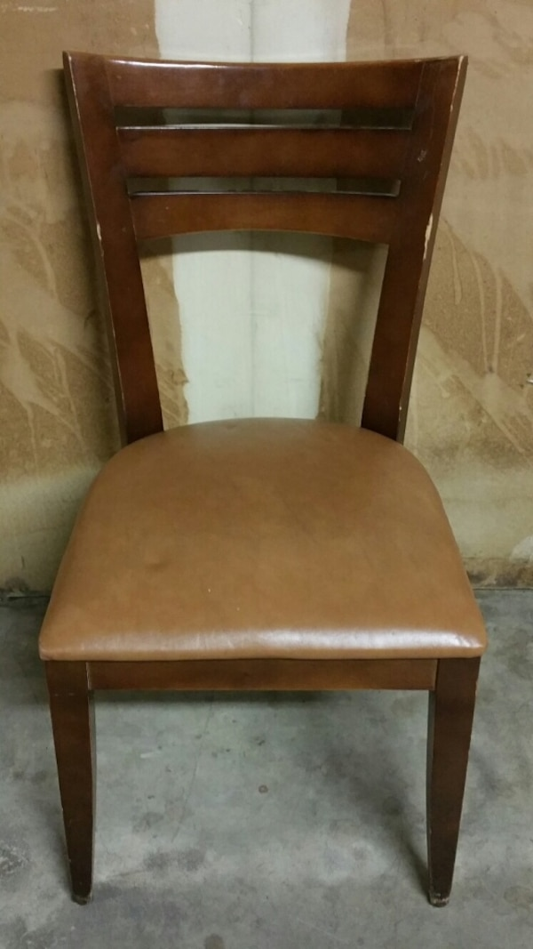 SOLID HARDWOOD CHAIR w/THICK, CUSHIONED VINYL SEAT (one only)