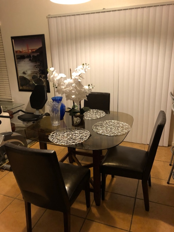 Tinted Gl Dining Table On Wood W 3 Brown Comfortable Matching Chairs