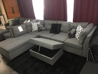 Linen fabric sectional with storage ottoman. Brand new. Colors: Grey and brown.  Farmers Branch, 75234
