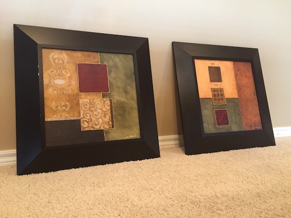 Beautiful framed painted canvas- pair