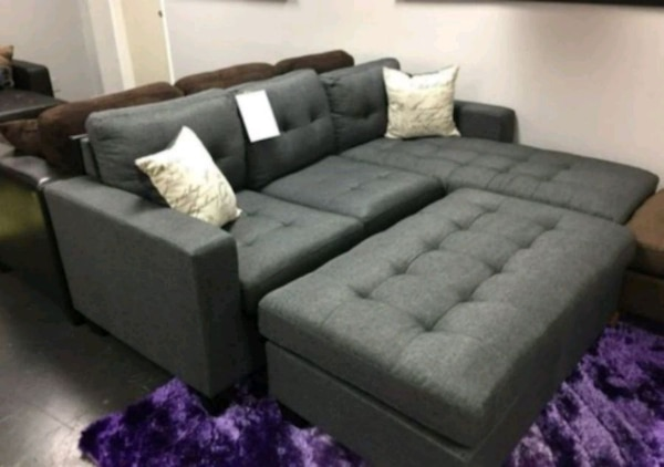 Brand New Grey Linen Sectional Sofa + Ottoman