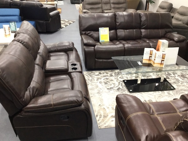 Used Black Leather Sofa Set With Throw Pillows For Sale In