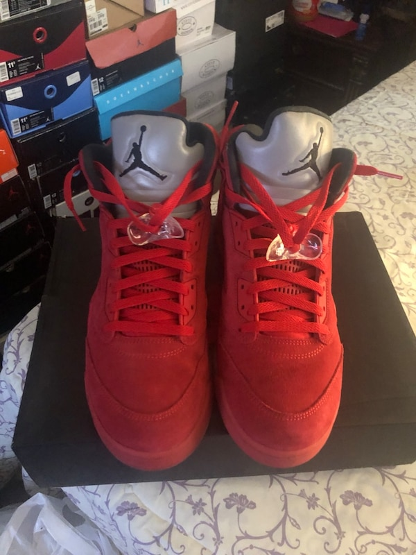 official photos 32e87 4428d Air Jordan Retro 5 Red Suede