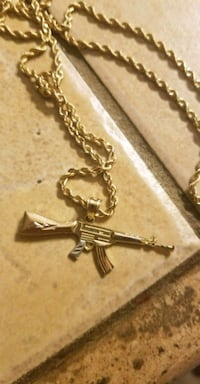 Gold Rope Chain with 3 Tone Gold AK 47 Anaheim, 92801