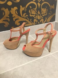 SEXY Nude platform sandals pumps * Leather Suede size 39 9
