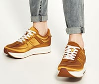 READ THE AD FOR ALL DETAILS: Brand new Gold Sateen sneakers, still in Box. Size 5 and Size 9 Montreal, QC, Canada