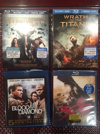 four assorted movie Blu-Ray disc cases Vaughan, L6A