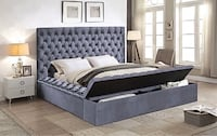 Grey Velvet Fabric Bed With Storage Benches Vaughan, L4L 7A5
