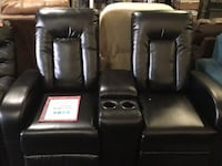 Leather 2 Seat Home Theater Recliners w/ Storage Hopkins, 55343