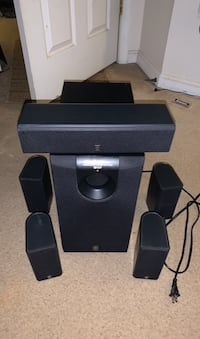 Yamaha 5.1 speakers set. Subwoofer center speaker and 4 small speakers