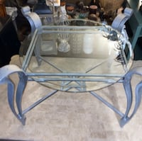 Silver table with glass - heavy!