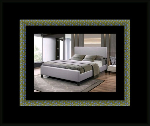 Grey platform bed with mattress all sizes