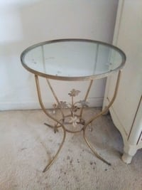 Vintage (1950s) Small Table With Metal Frame & Glass Top Olney, 20832