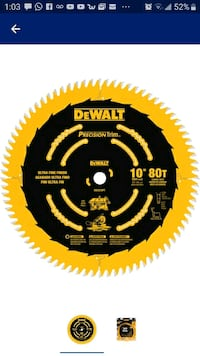 DeWalt presicion  trim 10-in 80-tooth carbide miter/table saw blade. La Vergne