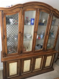 brown wooden framed glass display cabinet Baltimore, 21215