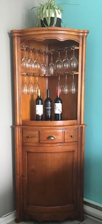 Meuble/Bar en coin, bois massif wooden cabinet with drawer Gatineau, J8R