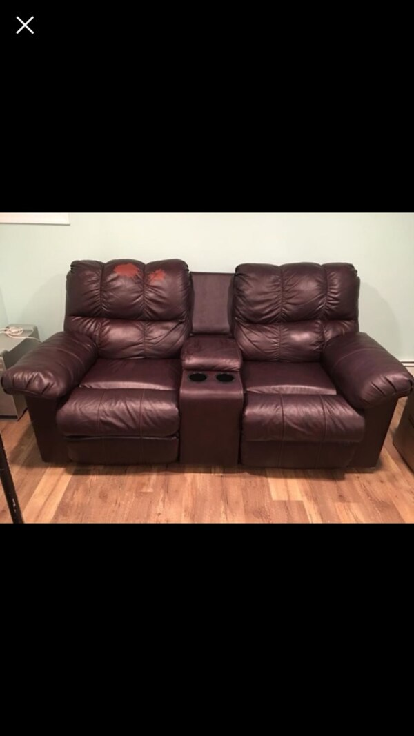 Used Brown Leather 2 Seat Recliner Sofa Movie Theater Couch For Sale