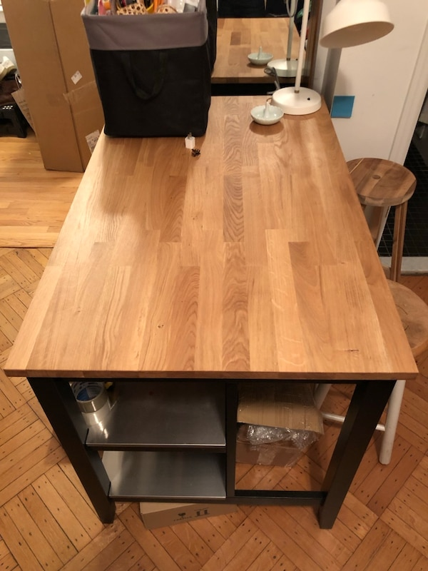 IKEA Stenstorp kitchen island black wood and steel great condition