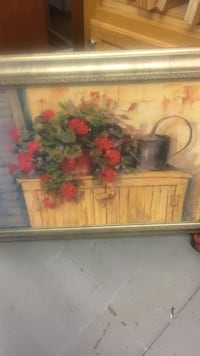 potted red Geranium flowers painting Russellville, 35654