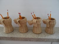 Four Rattan Pencil Holders FREDERICK