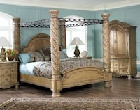 North Shore King Bedroom Set.. 2 End tables and 1 Amoir King