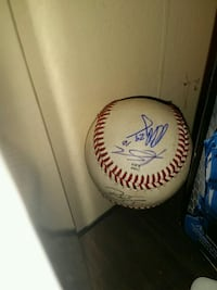 white and red baseball with signature Virginia Beach, 23454