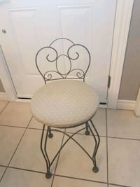 Vanity Chair  sturdy metal with upholstered seat.  Peterborough, K9J 6E8