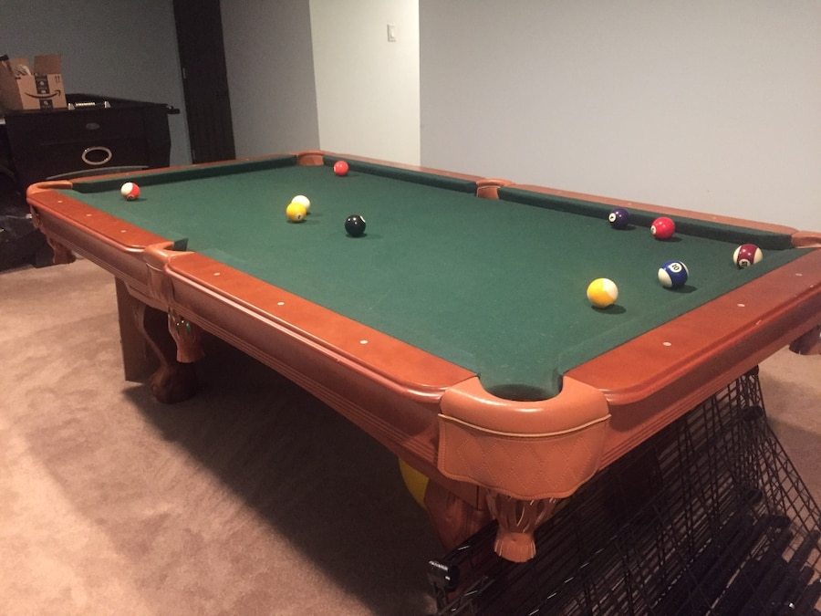 used pool table with balls and 3 sticks great condition for sale in rh gb letgo com