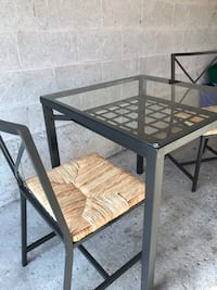 Square Glass-Top Table and 2 Chairs