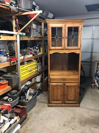 Brown wooden tv hutch with flat screen television 2283 mi