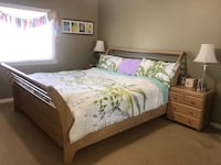 Eastern King Size Bed including bed frame, 2 matching nightstands, and boxspring. For pickup only in Long Beach. Long Beach, 90815