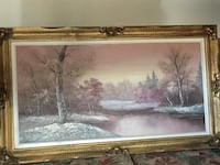Brown wooden framed painting of river.     Make offer   Hamilton, L0R 1P0
