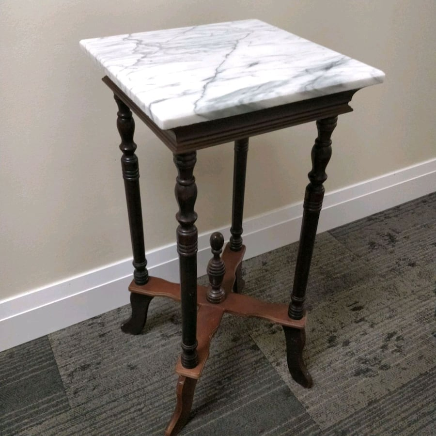 Antique Marble top wood side table / plant stand