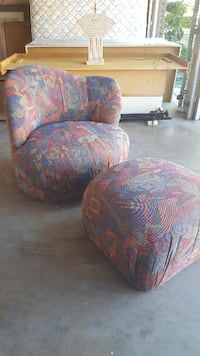 brown and blue floral fabric sofa chair Los Angeles