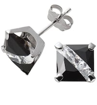 10K White Gold Black & White CZ Square Earrings Aldie, 20105
