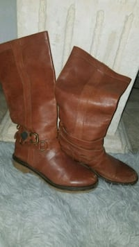 brown leather knee-high boots 42 km