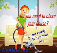 blonde haired woman in green shirt holding gray vacuum cleaner illustration with text overlay